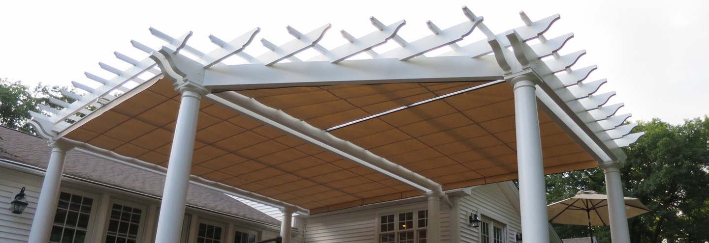 Fiberglass pergola with shade canopy
