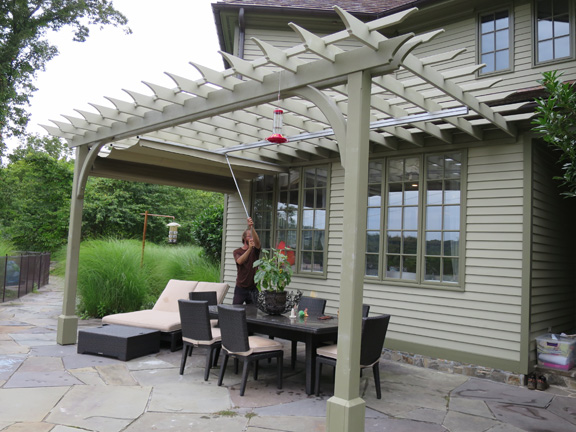 Attached post and beam pergola