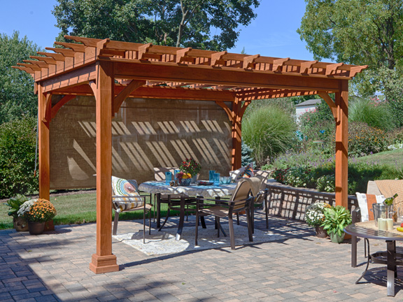 A wooden pergola with easy curtains - Wooden Pergolas Pressure Treated Pine Pergolas By Baldwin Outdoor